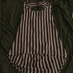 Forever 21: Sheer Stripe High Low Open Back Tank